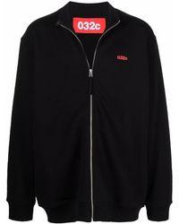 032c Logo-print Organic Cotton Jersey Bomber Jacket - Black