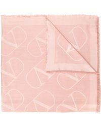 Valentino Vlogo Jacquard Stole - Pink