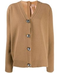N°21 Crystal Detail Oversized Cardigan - Natural