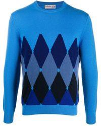 Ballantyne Diamond-print Cashmere Jumper - Blue