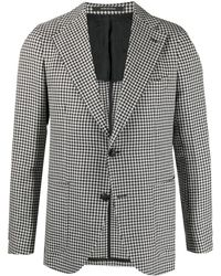 Tagliatore Houndstooth Single-breasted Jacket - White