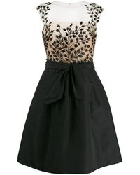 Oscar de la Renta Leaf Embroidered Cocktail Dress - Black