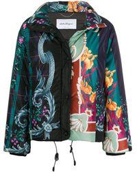 Ferragamo Floral Baroque Print Puffer Jacket - Green