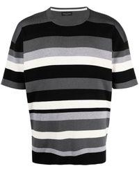 Roberto Collina Striped Rib-trimmed T-shirt - Black