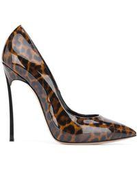 Casadei Blade Leopard Print Court Shoes - Brown