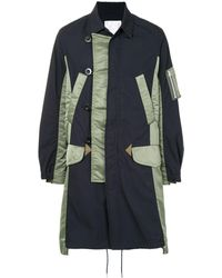 Sacai Shell-panelled Double-breasted Coat - Blue