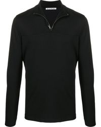 Acne Studios Half-zip Interlock Sweatshirt - Black