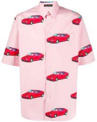 Versace X Andy Dixon Short Sleeve All Over Print Cars Shirt - Pink