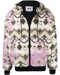MSGM Geometric Print Hooded Jacket - White