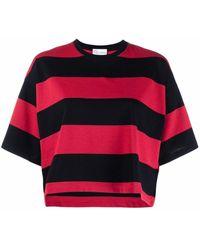 RED Valentino Striped Logo-print T-shirt - Red