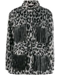 ANDAMANE Evita Animal Print Shirt Jacket - Gray