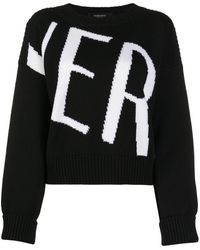 Versace Wool-knit Logo Jumper - Black