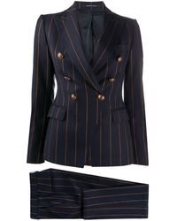 Tagliatore Pinstripe-print Trouser Suit - Blue