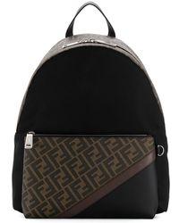 Fendi Monogram Print Backpack - Brown