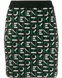 KENZO Intarsia-knit Logo Skirt - Green