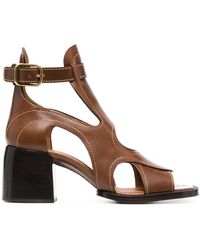 Chloé Cut-out Leather Sandals - Brown