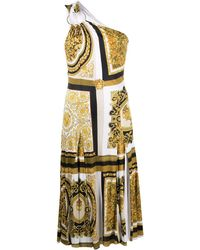 Versace - Baroque-print One-shoulder Dress - Lyst