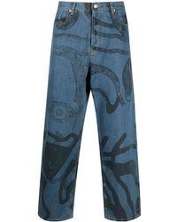 KENZO K-tiger Wide-leg Jeans - Blue