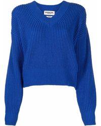 Essentiel Antwerp Ribbed-knit V-neck Jumper - Blue