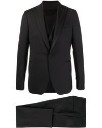 Tagliatore Slim Fit Three-piece Suit - Black