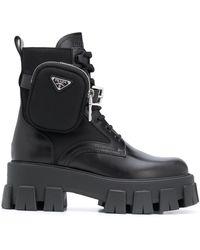 Prada Pocket Lug-sole Leather Combat Boots - Black