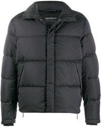 Emporio Armani Quilted Down Monogram Coat - Black