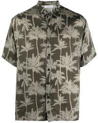 Laneus Palm Tree Print Short-sleeved Shirt - Green