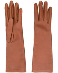 Saint Laurent Logo-debossed 5-finger Gloves - Brown