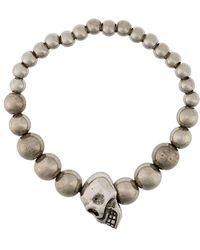Alexander McQueen Beaded Skull Motif Bracelet - Metallic