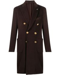 Lardini Double Breasted Buttoned Coat - Brown