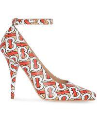 Burberry Tb Monogram Print Court Shoes - Orange
