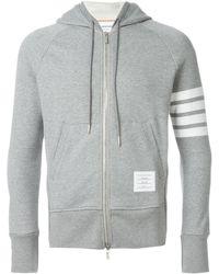 Thom Browne Engineered 4-bar Zip-up Jersey Hoodie - Grey