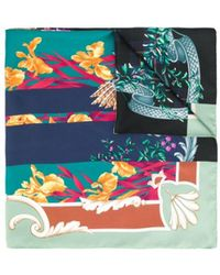 Ferragamo Mixed Print Silk Scarf - Green