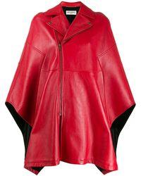 Saint Laurent Biker-style Poncho - Red