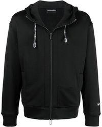 Emporio Armani Zip-up Cotton Hoodie - Black