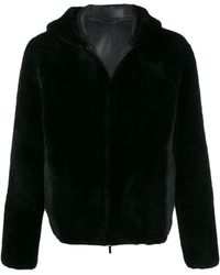 Giorgio Armani Reversible Shearling Hooded Jacket - Black