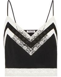 Miu Miu Cropped Lace-trim Cami - Black