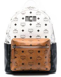MCM Logo-print Tricolour Backpack - White