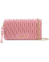 Miu Miu Matelassé Leather Mini-bag - Pink