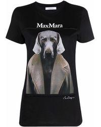 Max Mara Dog Logo-print T-shirt - Black