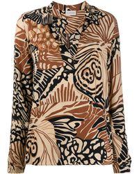By Malene Birger Abstract-print Split-neck Shirt - Multicolour