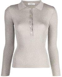 Charlott Glitter-effect Long-sleeve Polo Shirt - Grey
