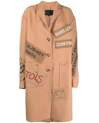 R13 Patch-detail Coat - Brown