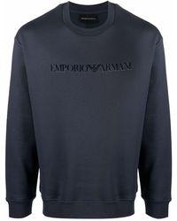 Emporio Armani Logo-print Crewneck Sweatshirt - Blue