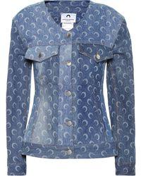 Marine Serre - Crescent Moon-print Recycled-cotton Denim Jacket - Lyst