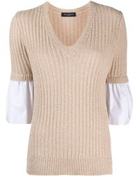 Piazza Sempione V-neck Panelled Knitted Jumper - Natural