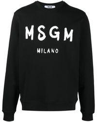 MSGM Logo Print Cotton Sweatshirt - Black