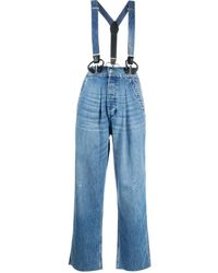 RE/DONE Cropped Denim Overalls - Blue