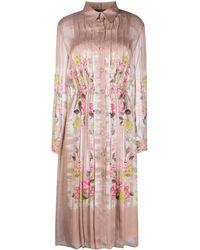 Alberta Ferretti Floral-print Plissé Dress - Pink