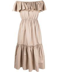 FEDERICA TOSI Off-shoulder Ruffled Dress - Brown